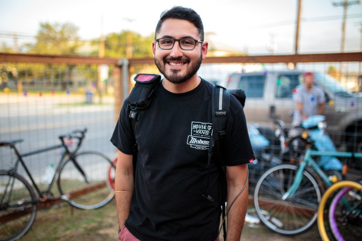 Gilberto De Hoyos, organizer of the Alley Cat bike race on June 13, 2014. Photo by Scott Ball.