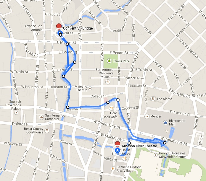 2014 Spurs Championship River Parade route. Note: floats will turn around in Rivercenter Mall lagoon. Image courtesy of Google Maps.