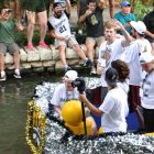 Spur Matt Bonner waves to fans during the 2014 Spurs Championship River Parade on June 30, 2014. Photo by Iris Dimmick.