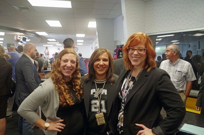 Bowden Elementary teachers Sara Kanear, Yvette Sanchez, and Jenny Spain pose for a photo during a press conference announcing a new NBA-sponsored Learn and Play Center at the school on June 6, 2014. Photo by Juan Garcia.
