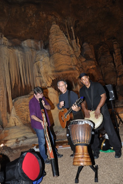 Pictured, from left:  Steve Daniel, didgeridoo, Rudi Harst, guitar. and Michael Madison, percussion.  Additional musicians who performed, but are not pictured: James Sanders, bass; Adam Tutor, sax; Kimberlyn Montford, vocalist; Kiko Guererro, drums.