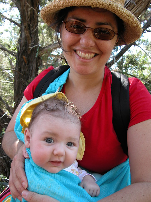 Cherise Rohr-Allegrini carrying her 3-month old daughter in her favorite sling. Courtesy photo.
