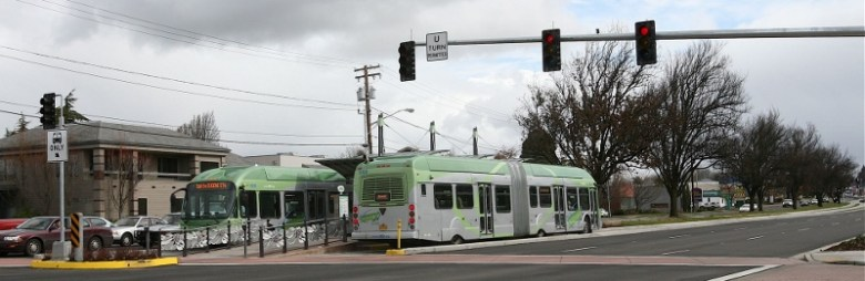 Bus Rapid Transit in Eugene, Oregon. Dedicated lanes can be seen at right. Photo courtesy Wikipedia.