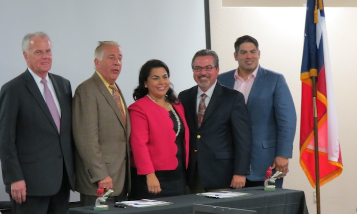 Stewards of the University of the Incarnate Word-Brooks City Base partnership include (left to right) UIW Chairman of the Board of Trustees Charles D. Lutz III, UIW President Louis Agnese Jr., District 3 Councilwoman Rebecca Viagran, Brooks City Base President and CEO Leo Gomez, and Brooks City Base Board Chairman Manuel Pelaez-Prada. Photo by Erin Hood.