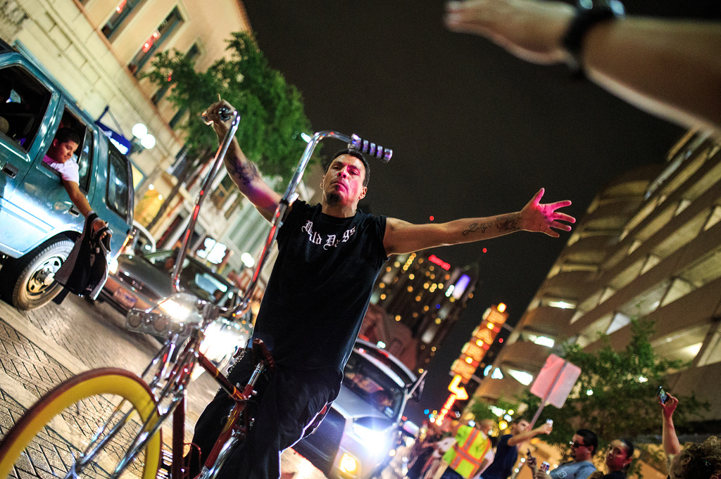 Spurs fans celebrate in downtown San Antonio after Game 4 of the NBA Finals, June 12, 2014. Photo by Scott Ball.