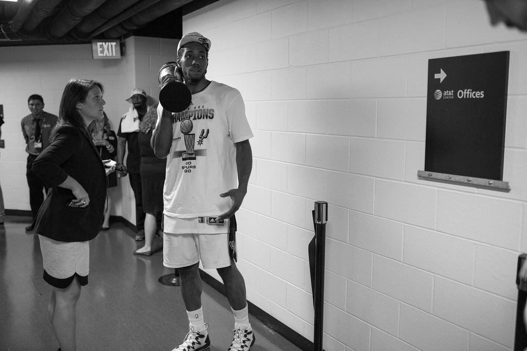 MVP Kawhi Leonard moments after the Spurs' win of the 2014 NBA Finals. Photo by Scott Ball.