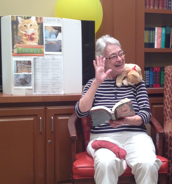 Nora Lee Peterson reading to Morningside Ministries. Author photo.