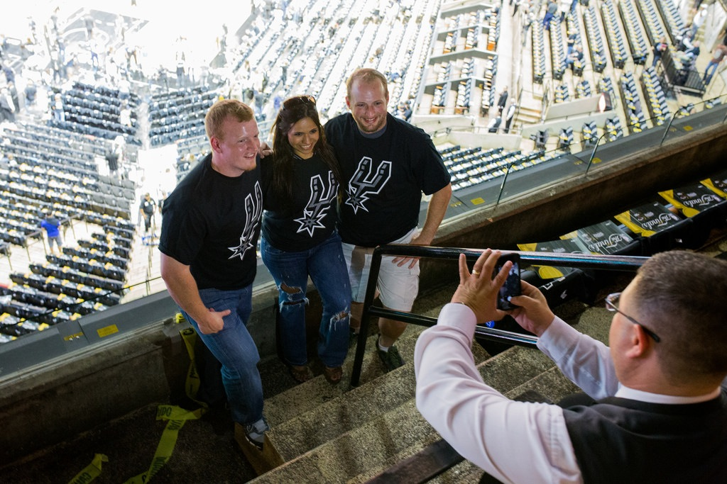 Paul Watkins, Rosy Ramos, and Josh Watkins arrive at the AT&T Center after a five-hour drive from South Padre for Game 1 of the 2014 NBA Finals. Photo by Scott Ball.