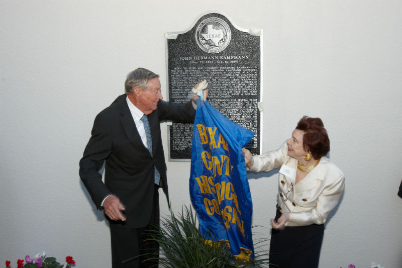 Thomas Claiborne Frost, Chairman Emeritus Frost National Bank and descendant of John Herman Kampmann, unveiling the John Hermann Kampmann historic marker, Feb. 1st 2013 in the Menger Hotel Garden. Courtesy photo.
