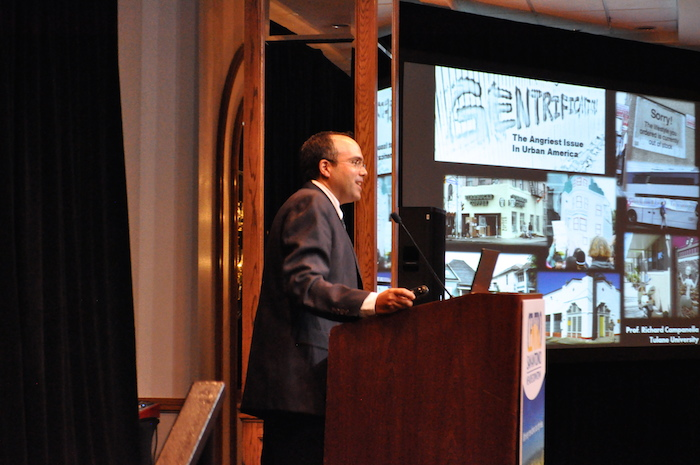 """Tulane University professor, geographer and author Richard Campanella speaks at Centro San Antonio's Urban Renaissance Luncheon, """"Gentrification: Let's Fill in the Blanks."""" Photo by Iris Dimmick."""