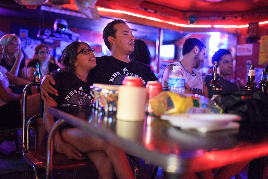 Richard Rodriguez and daughter Sofia enjoy the final quarter of Game Three of the NBA Finals on June 10, 2014. Photo by Scott Ball.