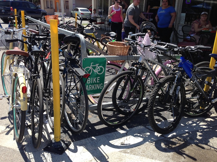 Build it and they come. On-street bike parking in Southtown was put in by San Antonio Bikes a few years ago, but not without controversy. The bike racks in front of Tito's Restaurant was well-used during Síclovía. Photo by Julia Murphy.