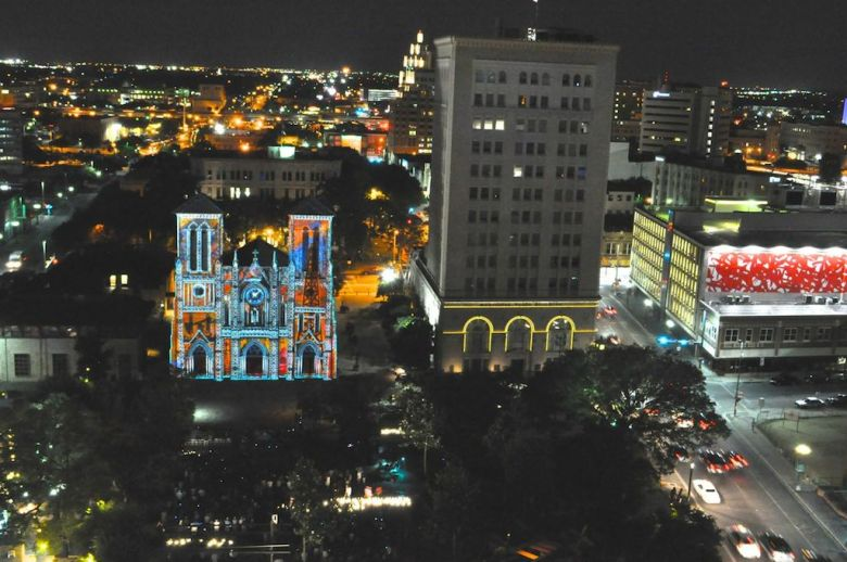 """The opening night of """"The Saga"""" video art installation on San Fernando Cathedral in Main Plaza. Photo by Iris Dimmick."""