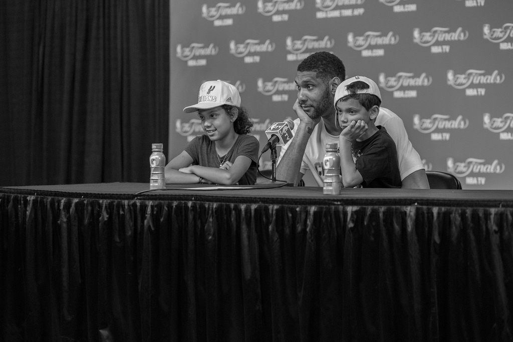 Tim Duncan addresses media after the Spurs' win of the 2014 NBA Finals. Photo by Scott Ball.
