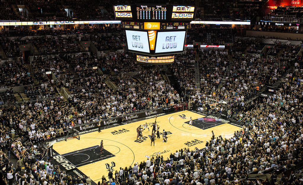 Tip-off between the San Antonio Spurs and Miami Heat for Game 2 of the NBA Finals June 8, 2014. Photo by Scott Ball.