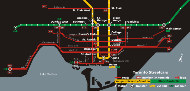 Toronto streetcar and subway route map. Image courtesy Wikipedia.