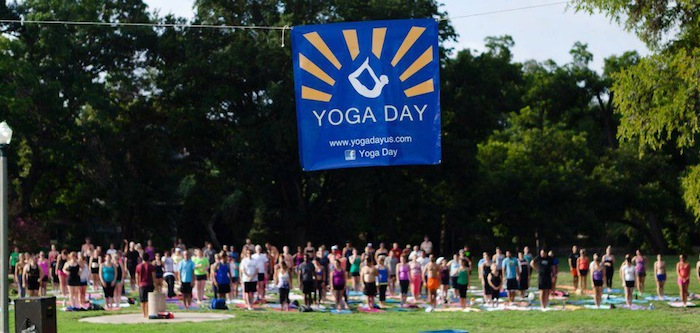 More than 300 people practiced yoga during Yoga Day 2013 at Brackenridge Park. Courtesy of Yoga Day.