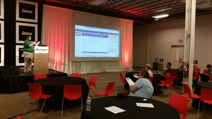 Several presentations taught new curriculum resources during the Open Ed Jam at Rackspace. Photo by Andrew Moore.