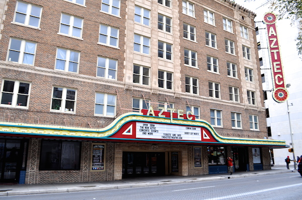 The Aztec Theater at 201 E. Commerce. St. Photo by Iris Dimmick.