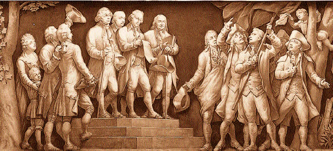 (Center, front, L-R) John Adams, Thomas Jefferson, and Benjamin Franklin read the new Declaration of Independence to American colonists. Courtesy Architect of the Capitol.