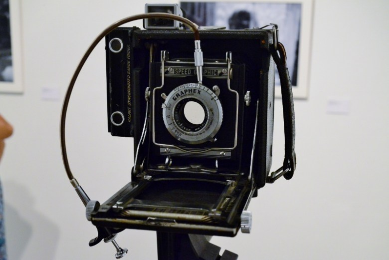 Speed Graphic camera used by Jenelle Esparza for her exhibit. Photo by Page Graham.