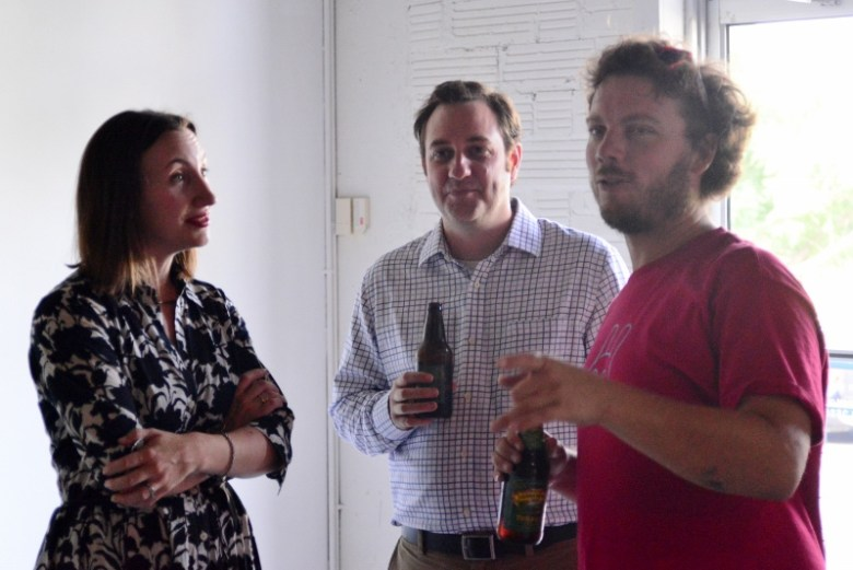 Mary Heathcott, Ben Judson and Justin Parr at Fl!ght Gallery. Photo by Page Graham.