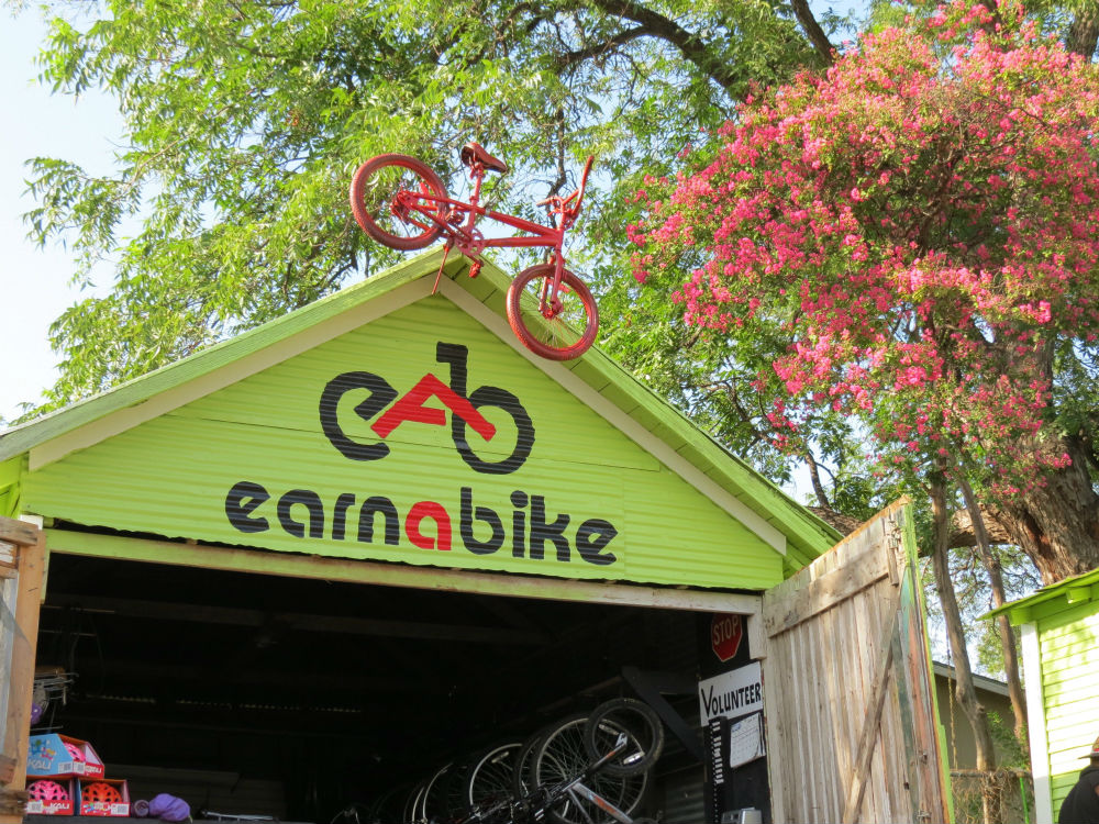 The Earn-A-Bike Co-op, located at 2619 Guadalupe St. Photo by Erin Hood.