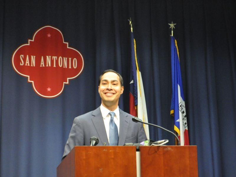 Mayor Julián Castro addresses local media after his official confirmation as the next Secretary of Housing and Urban Development on July 9, 2014 after a 71-26 Senate vote. Photo by Iris Dimmick.