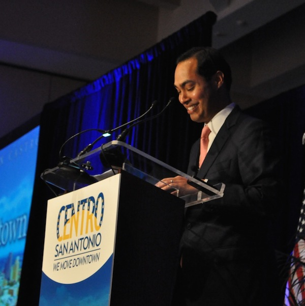 """Mayor Julián Castro speaks at Centro San Antonio's """"The Future of Downtown"""" luncheon. July 10, 2014. Photo by Iris Dimmick."""