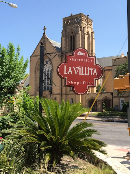 La Villita is set in the heart of downtown with landmarks including the St. John's Lutheran Church located across Nueva Street. Photo by Katherine Nickas.