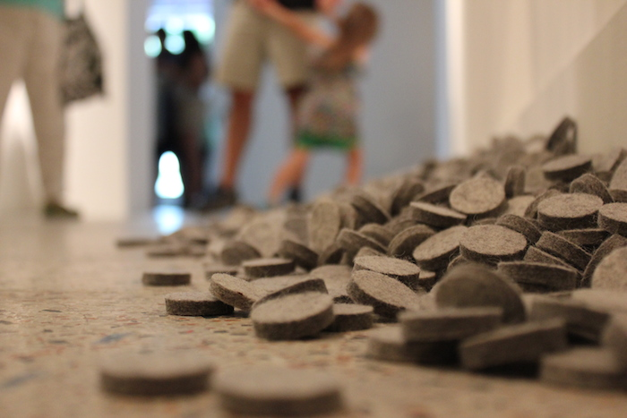 "Pieces of Ricardo Rendon's ""Area de Trabajo"" at the Guadalupe Cultural Arts Center's exhibit, ""Flatland."" July 11, 2014. Photo by Melanie Robinson."