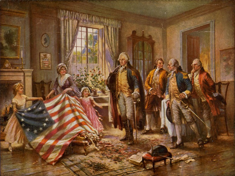 """""""The Birth of Old Glory,"""" by Percy Moran, depicts Betsy Ross presenting the American flag to George Washington. Courtesy U.S. Library of Congress."""