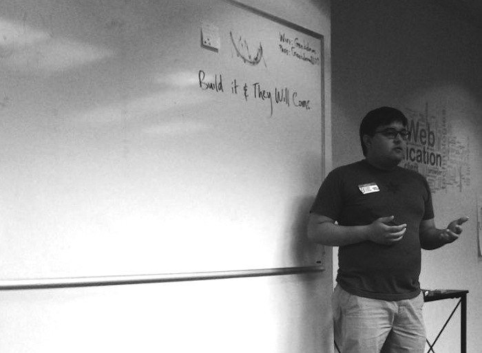 Ryan Salts gives a talk about downtown development at SATCamp. Photo by Adrian Ramirez.