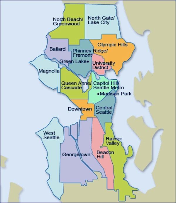 Seattle neighborhood map.