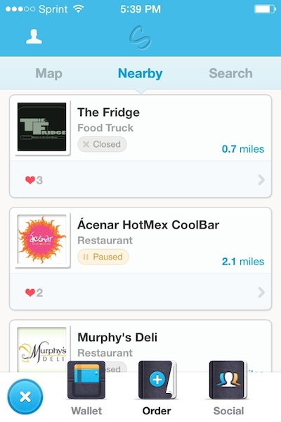 """The Storific """"order"""" screen. This list of nearby restaurants was automatically generated according to the user's current location."""