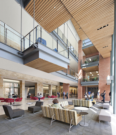 The Center's atrium. Across the hall to the left are two labs, one for introductory Biology and one for introductory Chemistry. Photo by Robert Benson Photography.