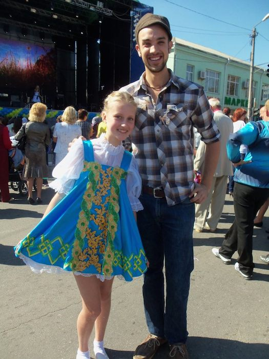 Celebrating Nemyriv Day with one of my students, Dasha, in performance garb. Photo courtesy of Adam Tutor.