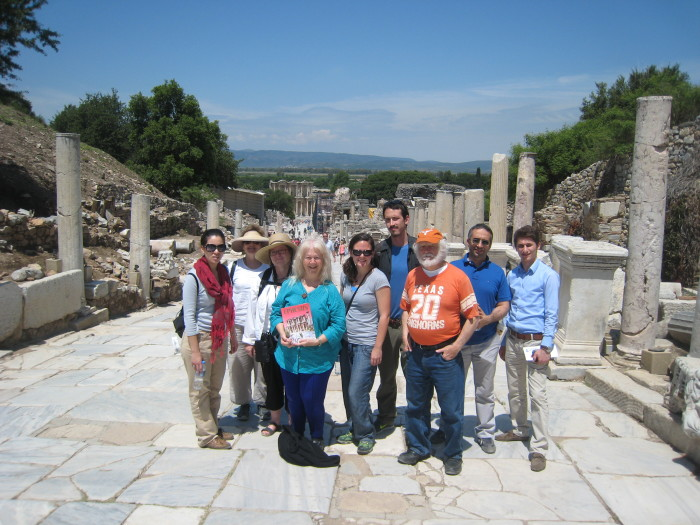 (L-R) Denisse Ibarra, Mary Margaret Lobb, Dr. Julie Miller, Sr. Martha Ann Kirk, Jessica Glover, Troy Steen, Dr. Don Anderson, Mehmet Oguz, and a local host on the road to the Celsus Library in Ephesus. Courtesy Photo.