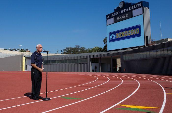 Interim Athletic Director Frank Arnold speaks at Alamo Stadium. Photo by Scott Ball.