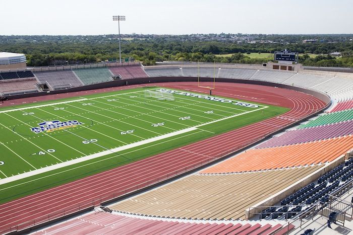 The new field and seating at Alamo Stadium. Photo by Scott Ball. Photo by Scott Ball.