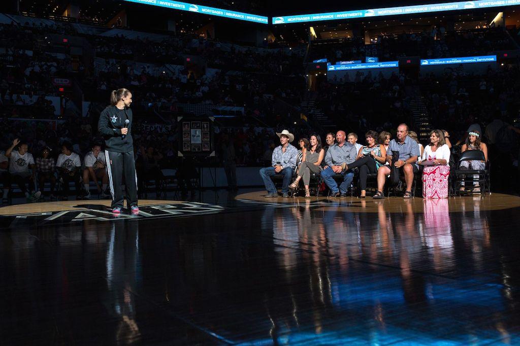 Becky Hammon says goodbye during her retirement ceremony. Photo by Scott Ball.