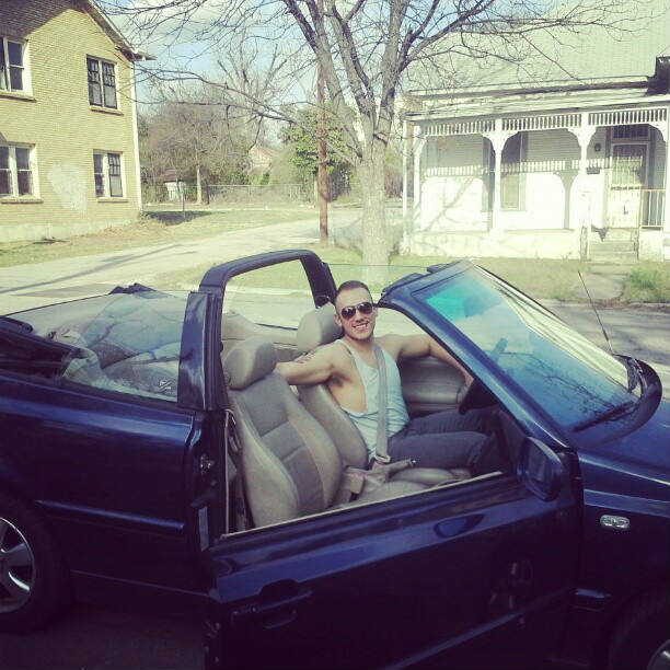 In my wonderful car. Though I hated driving everywhere - it was a convertible after all. Courtesy photo.