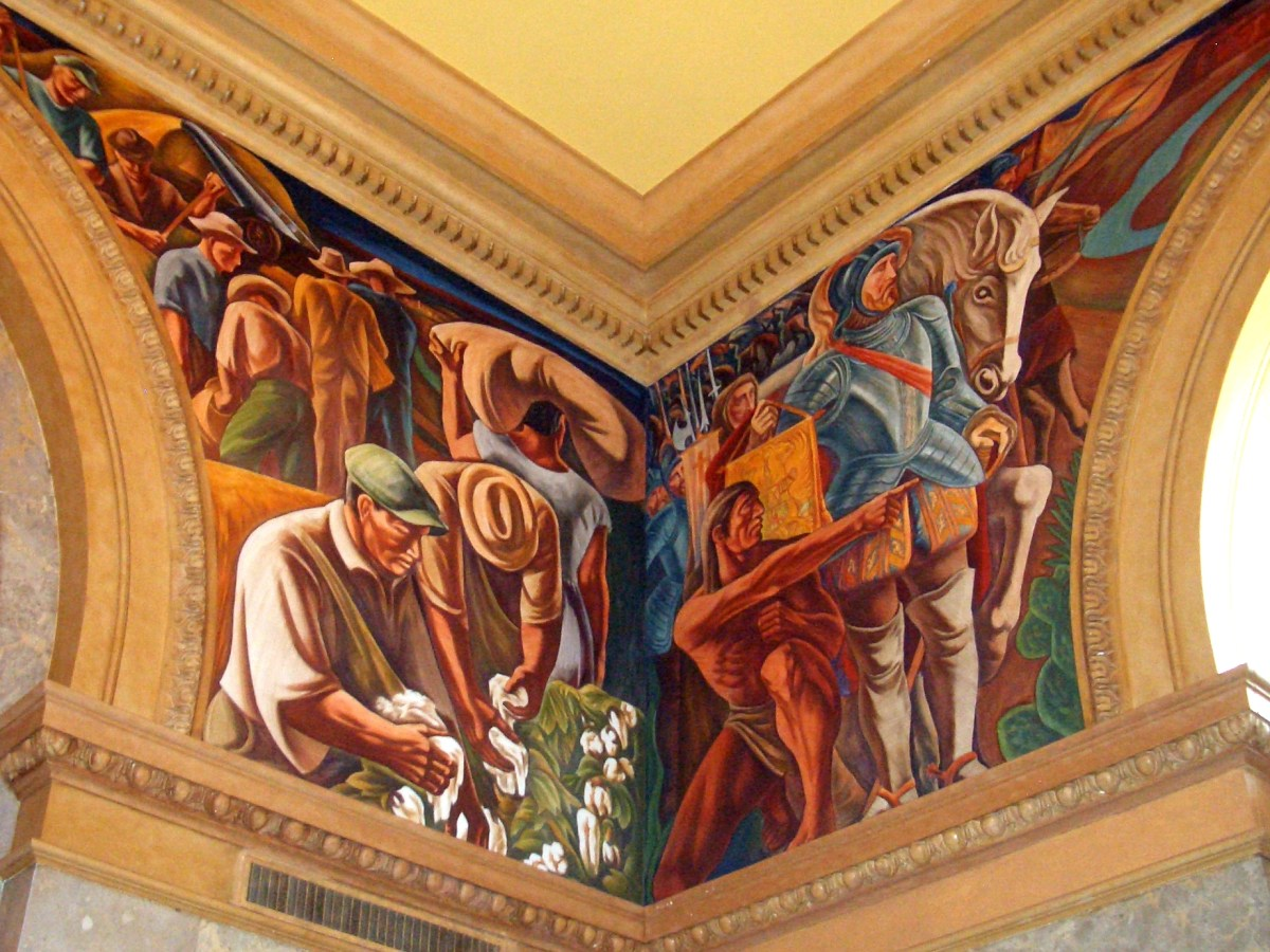 A corner of the mural in the post office. Photo by Lily Casura.