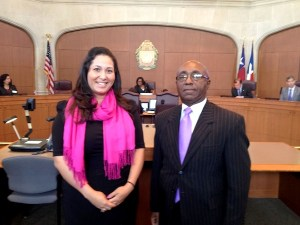 District 7 Councilwoman Mari Aguirre Rodriguez  (left) and District 2 Councilman Keith Toney. Photo by Robert Rivard.