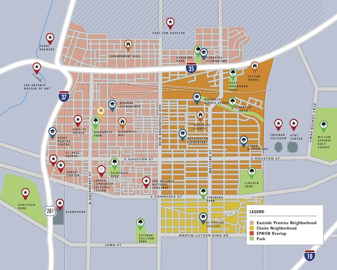 A map of Promise Zone and Choice Neighborhood programs on the Eastside. Map courtesy of EastPoint.