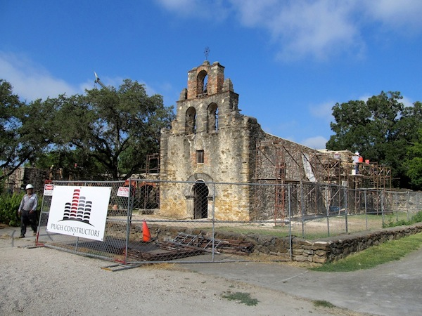 Mission Espada, one of the five San Antonio missions nominated for the World Heritage List is currently undergoing restoration work. Photo by Carol Baass Sowa.