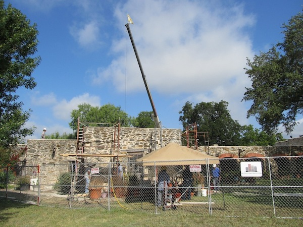 Restoration work continues on the convento (seen here) and church at Mission Espada. Photo by Carol Baass Sowa.