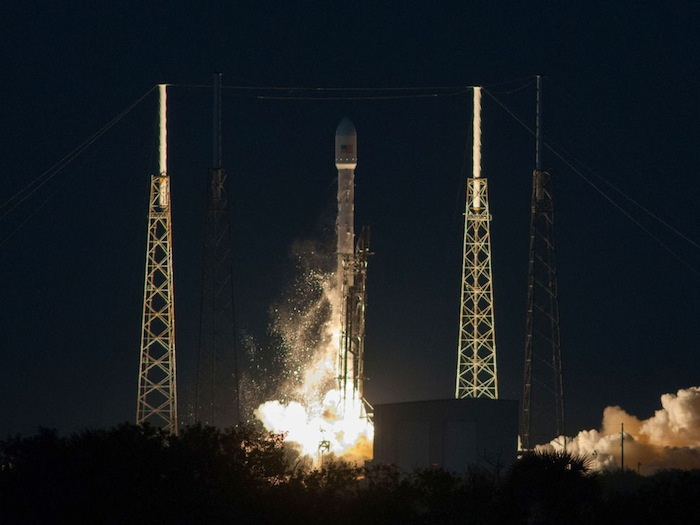Falcon 9 and Ses 8 launch from SpaceX launch pad at Cape Canaveral. Photo courtesy of SpaceX.