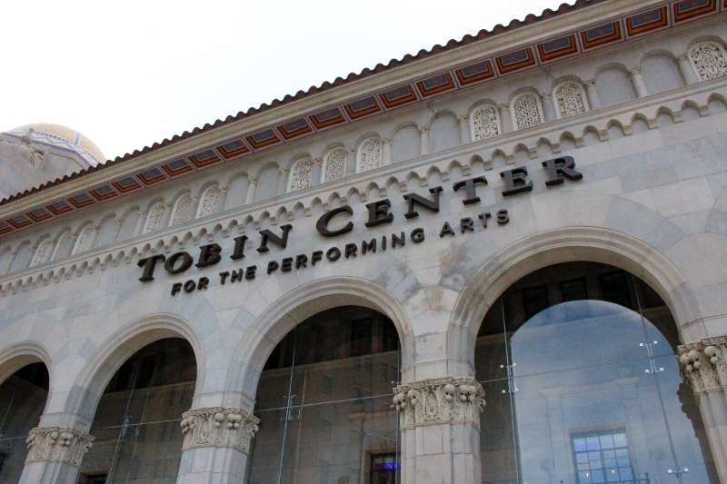 Recently installed lettering proudly proclaims the Tobin Center. Photo by Page Graham.