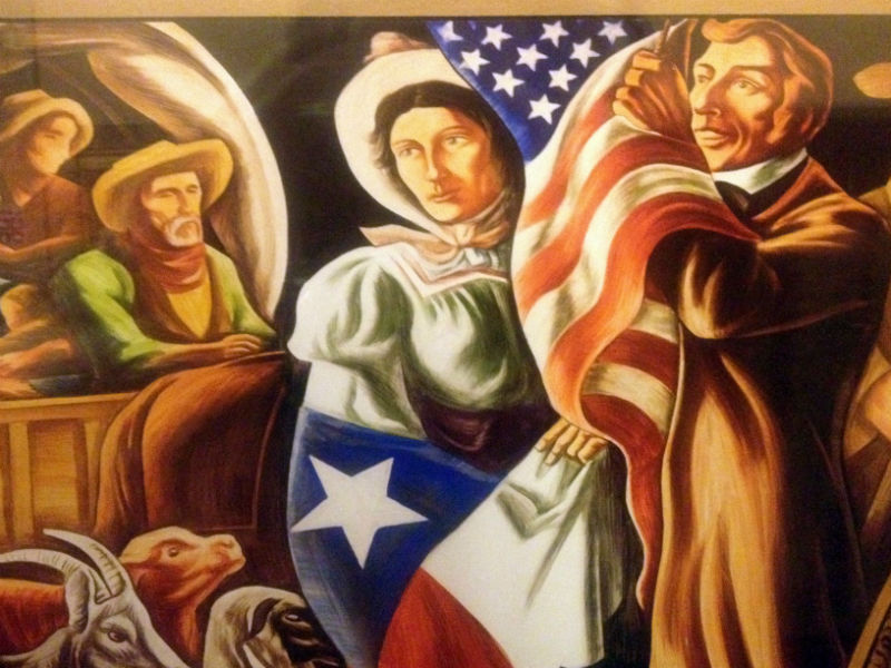 A section of mural at the Alamo Plaza U.S. Post Office. Photo by Lily Casura.